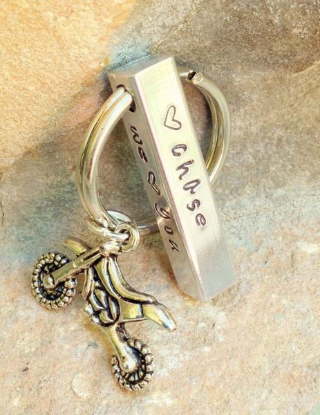 Motocross Keychain, Personalized Bar Keychain, Gifts for Men, Gifts for Dad, Motocross, Keychain, Hand Stamped Keychain - Natashaaloha, jewelry, bracelets, necklace, keychains, fishing lures, gifts for men, charms, personalized,