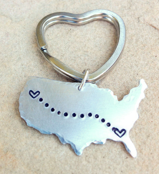 United States Keychain, Gifts for Men, Boyfriend Gift, Long Distance  Keychain, Couples Keychain, Personalized Keychain, natashaaloha - Natashaaloha, jewelry, bracelets, necklace, keychains, fishing lures, gifts for men, charms, personalized,