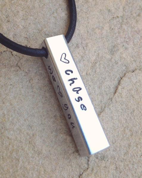 Men's Bar Necklace, Christmas Gifts For Dad, Personalized Dad Necklace
