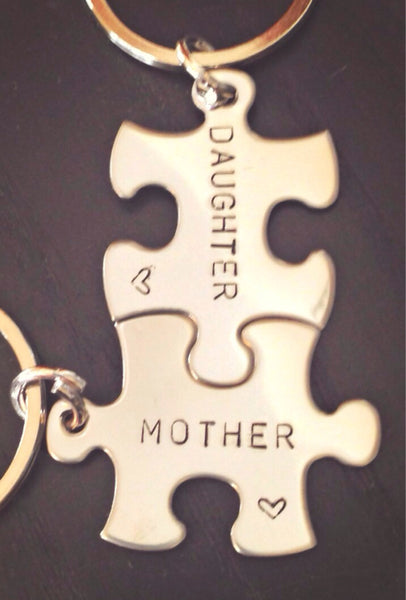 Personalized Puzzle Keychain, Mother Daughter Keychain, Mother Daughter Gifts, Mothers Day, natashaaloha - Natashaaloha, jewelry, bracelets, necklace, keychains, fishing lures, gifts for men, charms, personalized,
