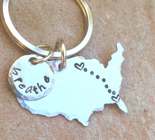 United States Keychain, Boyfriend Gift, Long Distance  Keychain, Couples Keychain, Personalized Keychain, Hand Stamped Keychain - Natashaaloha, jewelry, bracelets, necklace, keychains, fishing lures, gifts for men, charms, personalized,