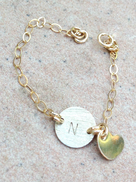 Personalized Initial Bracelet, Baby Bracelet, Mother Daughter Bracelets, Gold Bracelet, natashaloha