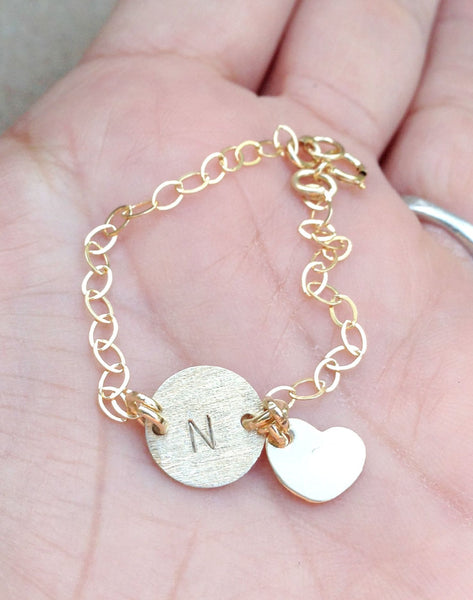 Personalized Initial Bracelet, Baby Bracelet, Mother Daughter Bracelets, Gold Bracelet, natashaloha - Natashaaloha, jewelry, bracelets, necklace, keychains, fishing lures, gifts for men, charms, personalized,