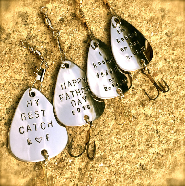 Personalized Fishing Lure, Happy Fathers Day, My Best Catch, I'm hooked on you, Valentines Gift Men, natashaaloha - Natashaaloha, jewelry, bracelets, necklace, keychains, fishing lures, gifts for men, charms, personalized,