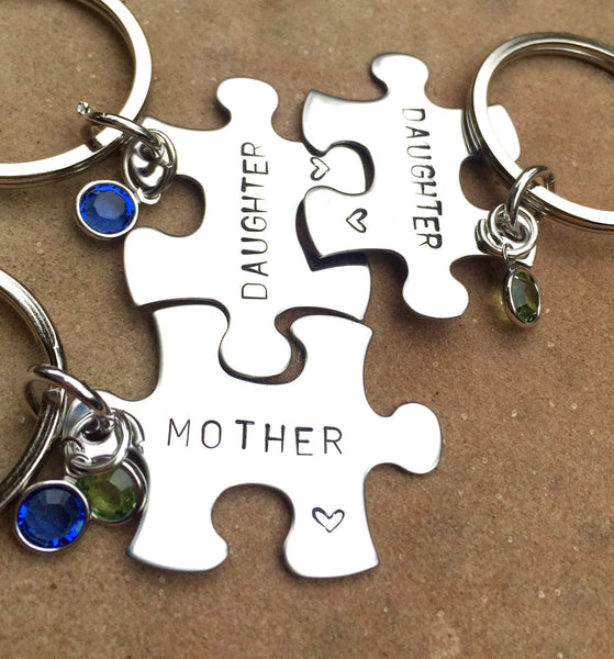 Personalized Mother Daughter Puzzle Keychains