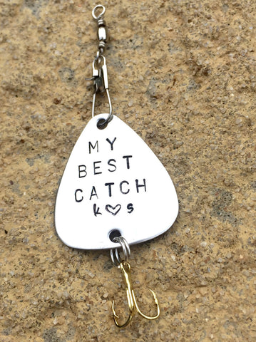 Fishing Lure,Boyfriend Gift, Personalized Fishing Lure, Hand Stamped Fishing Lure,Custom Lures, Father Gift - Natashaaloha, jewelry, bracelets, necklace, keychains, fishing lures, gifts for men, charms, personalized,