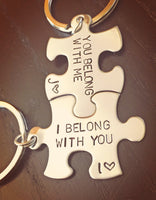 I Belong With You, You Belong With Me, I Love Him, I Love Her,couple keychain, gifts for him and her, anniversary gifts - Natashaaloha, jewelry, bracelets, necklace, keychains, fishing lures, gifts for men, charms, personalized,