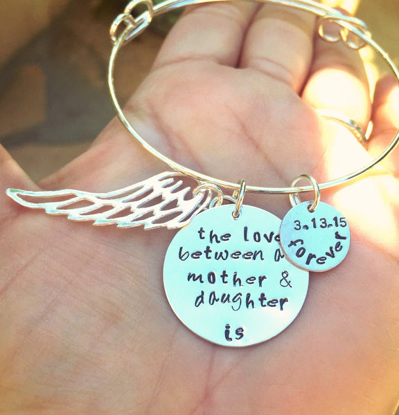 The Love Between A Mother And Daughter Is Forever Bangle - Natashaaloha, jewelry, bracelets, necklace, keychains, fishing lures, gifts for men, charms, personalized,