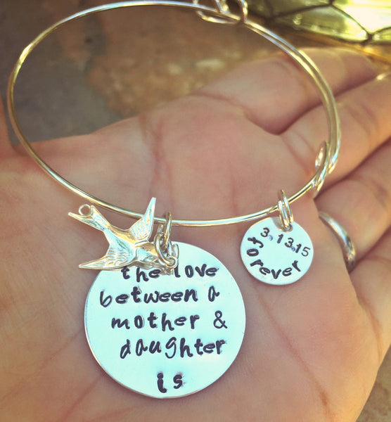 The Love Between A Mother And Daughter Is Forever, Mother Daughter Bracelet, Personalized Bracelets, natashaaloha - Natashaaloha, jewelry, bracelets, necklace, keychains, fishing lures, gifts for men, charms, personalized,