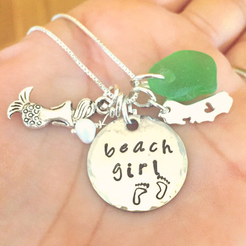 Beach Girl Mermaid Necklace - Natashaaloha, jewelry, bracelets, necklace, keychains, fishing lures, gifts for men, charms, personalized,