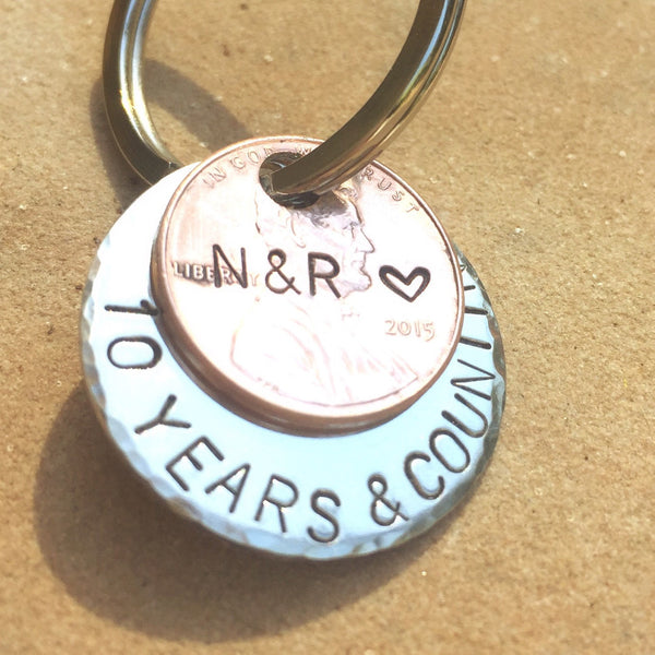 Anniversary Penny Keychain, Ten Years And Counting Penny Keychain - Natashaaloha, jewelry, bracelets, necklace, keychains, fishing lures, gifts for men, charms, personalized,