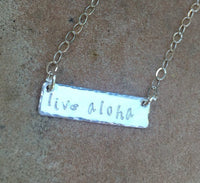 Live Aloha Necklace, Sterling Bar Necklace, Name Necklace, Monogram Necklace, Mothers Day Necklace - Natashaaloha, jewelry, bracelets, necklace, keychains, fishing lures, gifts for men, charms, personalized,