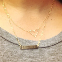 Monogram Necklace, Gold Bar Necklace, Nana Necklace, Personalized Necklace, Bar Necklace, Personalized Heart Necklace,  natashaaloha - Natashaaloha, jewelry, bracelets, necklace, keychains, fishing lures, gifts for men, charms, personalized,