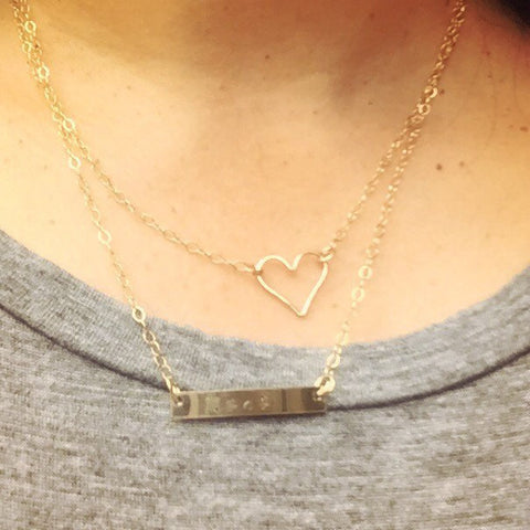 Gold Heart And Bar Personalized Necklace For Mom - Natashaaloha, jewelry, bracelets, necklace, keychains, fishing lures, gifts for men, charms, personalized,