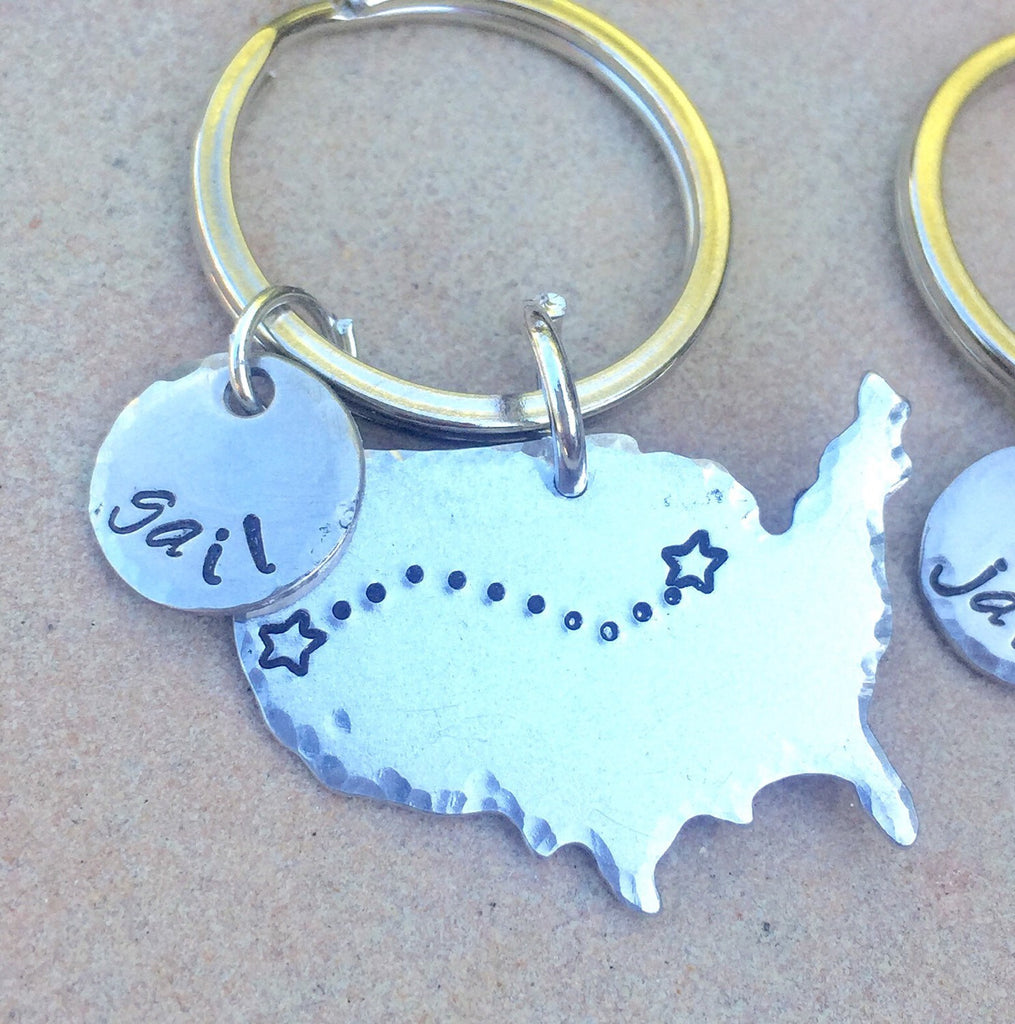 United States Keychain, Family Reunion, Graduation Gift, Long Distance Gifts, High School Reunion Gift, Reunion Gifts, Keychains