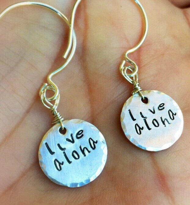 Live Aloha Earrings, Hawaiian Jewelry, Hawaiian Earrings, Natashaaloha - Natashaaloha, jewelry, bracelets, necklace, keychains, fishing lures, gifts for men, charms, personalized,