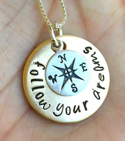 Graduation Gifts, Follow Your Dreams, Enjoy the Journey Necklace, Compass Necklace, Graduation Gifts, College Grad 2016 - Natashaaloha, jewelry, bracelets, necklace, keychains, fishing lures, gifts for men, charms, personalized,