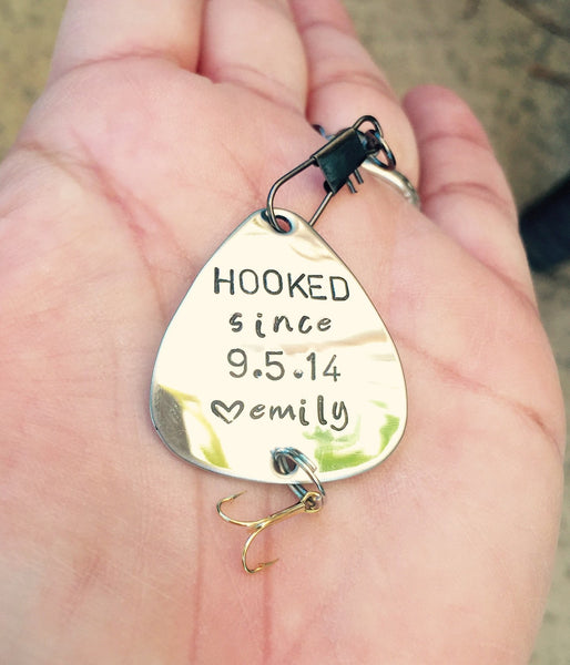 Fishing Lure,  Fathers Day Gift, For Him, Boyfriend Gift, Personalized Fishing Lure, Hand Stamped Fishing Lure,natashaaloha, Hooked Since - Natashaaloha, jewelry, bracelets, necklace, keychains, fishing lures, gifts for men, charms, personalized,