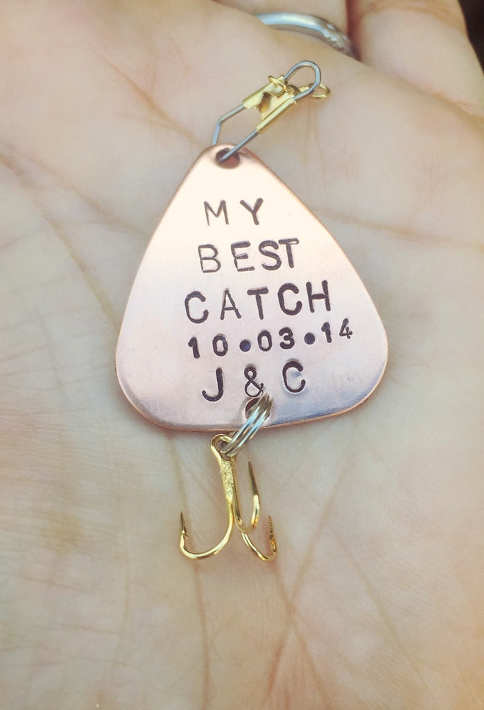 Fishing Lure,  Valentine Gift, For Him, Boyfriend Gift, Personalized Fishing Lure, Hand Stamped Fishing Lure,natashaaloha, Boyfriend Gift - Natashaaloha, jewelry, bracelets, necklace, keychains, fishing lures, gifts for men, charms, personalized,