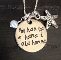 Hawaiian Jewelry, Mothers Day Necklace ,Hawaiian Necklace, Live Life While The Sun Is Still Shining, Hand Stamped Necklace, Beach - Natashaaloha, jewelry, bracelets, necklace, keychains, fishing lures, gifts for men, charms, personalized,