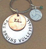 Soccer Keychain, Boyfriend Gift, Personalized Sports Gift, Hand Stamped Keychain,High School Gift, College Gifts, Christmas G - Natashaaloha, jewelry, bracelets, necklace, keychains, fishing lures, gifts for men, charms, personalized,