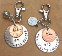 Soccer Gift, Christmas Gift, High School Sports Keychain, Volleyball Keychain, Personalized High School Sport Keychain, Football - Natashaaloha, jewelry, bracelets, necklace, keychains, fishing lures, gifts for men, charms, personalized,