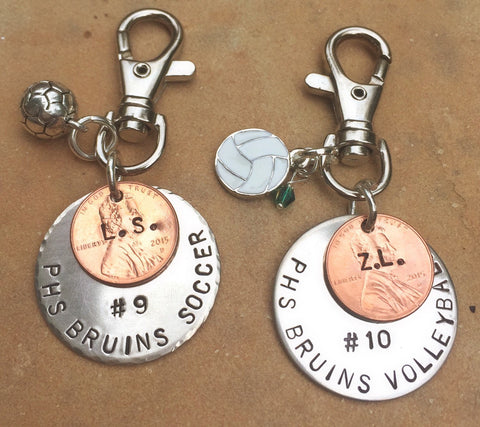 soccer keychain boyfriend gift personalized sports gift hand stamped keychainhigh school