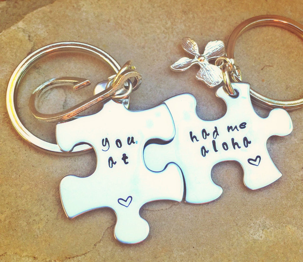 Boyfriend Gift, You had me at aloha, hawaiian keychain, natashaaloha, Christmas gift, couples gift, personalized gifts, Aloha Keychain - Natashaaloha