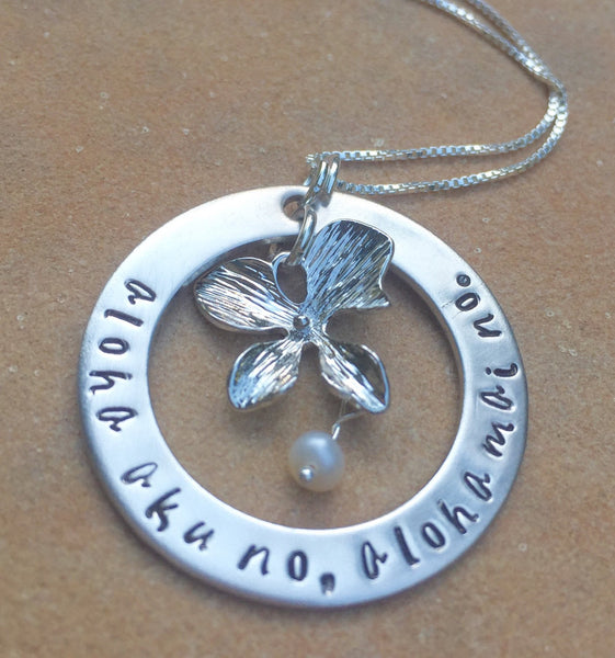 Hawaiian Necklace, Aloha aku no aloha mai no, Christmas gifts Mom - Natashaaloha, jewelry, bracelets, necklace, keychains, fishing lures, gifts for men, charms, personalized,