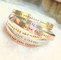 Personalized Cuffs, Positve Quote Cuffs, Mothers Day Bracelet, Hand Stamped Cuffs, Stacking Cuff Bracelets, Inspirational Cuff Bracelets - Natashaaloha, jewelry, bracelets, necklace, keychains, fishing lures, gifts for men, charms, personalized,