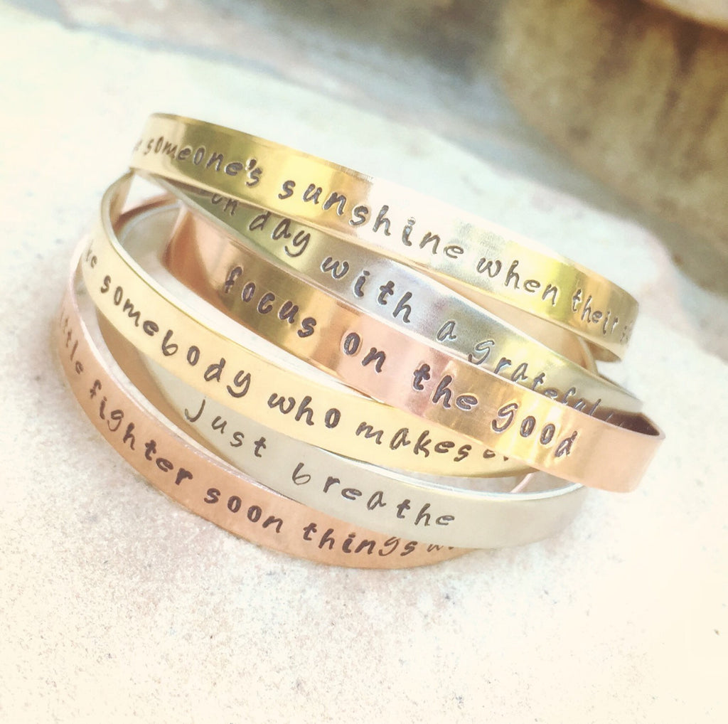 Inspirational Cuff Bracelets - Natashaaloha, jewelry, bracelets, necklace, keychains, fishing lures, gifts for men, charms, personalized,