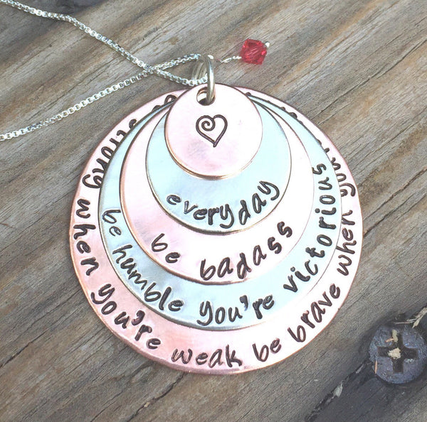 Cancer Necklace Be Badass Everyday - Natashaaloha, jewelry, bracelets, necklace, keychains, fishing lures, gifts for men, charms, personalized,