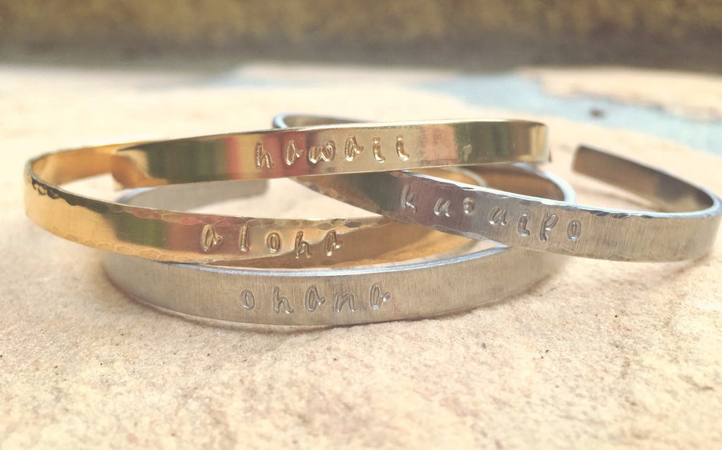 Personalized Cuffs, Hawaiian Jewelry, Aloha Bracelet, Hawaii Bracelet, Ku'uipo Bracelet, Ohana Bracelet, Skinny Cuff - Natashaaloha, jewelry, bracelets, necklace, keychains, fishing lures, gifts for men, charms, personalized,