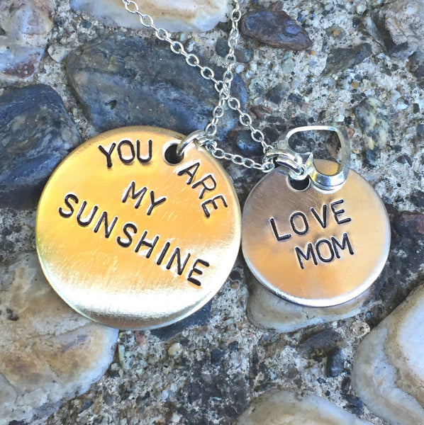 you are my sunshine, Valentine Gifts,mother daughter jewelry, mother daughter necklace, mothers day gifts, gifts for mom