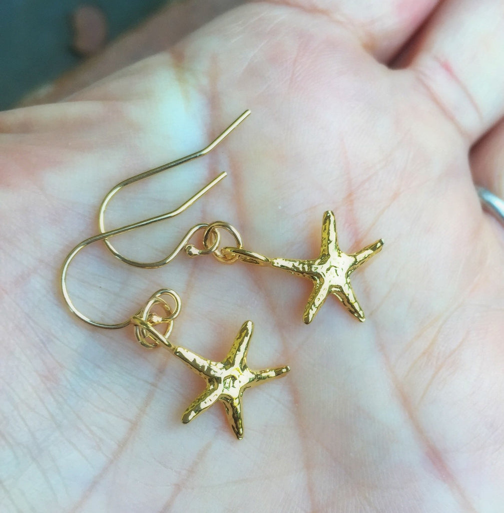Starfish Earrings, Gold Starfish Earrings, Beach Earrings, Christmas Gifts Mom, Hawaiian Earrings, natashaaloha - Natashaaloha, jewelry, bracelets, necklace, keychains, fishing lures, gifts for men, charms, personalized,