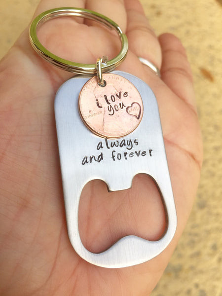 Lucky We Found Each Other, Bottle Opener Personalized Keychain, Penny Keychains, Boyfriend Gifts, Personalized Keychains, Mothers Day - Natashaaloha, jewelry, bracelets, necklace, keychains, fishing lures, gifts for men, charms, personalized,