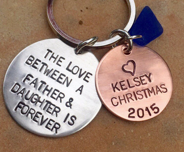 The Love Between A Father And Daughter Is Forever, Valentine Gift, Personalized Keychains, Hand Stamped Keychain, natashaaloha - Natashaaloha, jewelry, bracelets, necklace, keychains, fishing lures, gifts for men, charms, personalized,