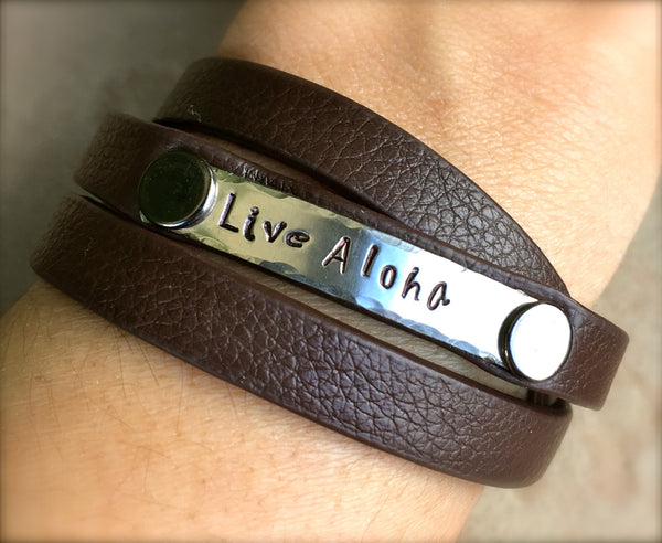 Live Aloha Bracelet, Mothers Day Gift,  Hawaiian Jewelry, Live Aloha Jewelry, Leather Wrap Bracelet, Hand Stamped Bracelet, natashaaloha - Natashaaloha, jewelry, bracelets, necklace, keychains, fishing lures, gifts for men, charms, personalized,