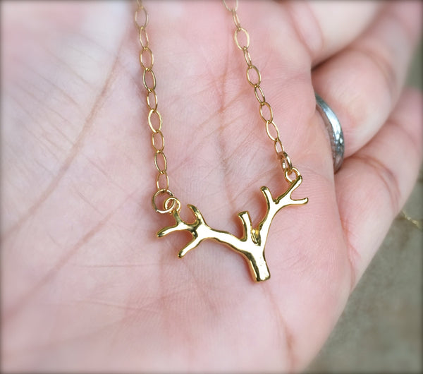 Gold Antler Necklace, Minimal Jewelry, Necklace, Natashaaloha - Natashaaloha, jewelry, bracelets, necklace, keychains, fishing lures, gifts for men, charms, personalized,