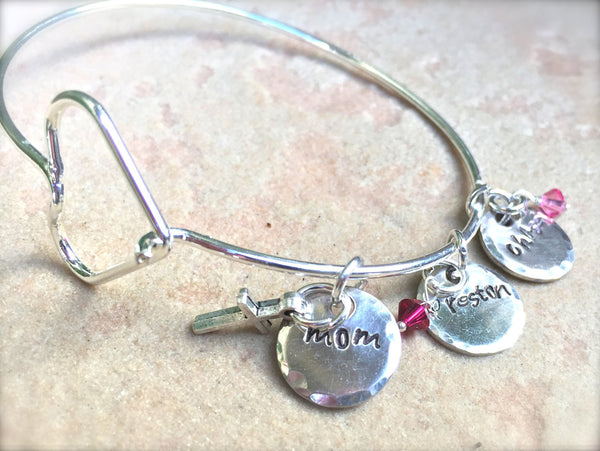 Mom Bracelet, Personalized Bangle Bracelet, Custom Bangle, Personalized Family Bangle, Hand Stamped Custom Bangle, Valentine Gifts - Natashaaloha, jewelry, bracelets, necklace, keychains, fishing lures, gifts for men, charms, personalized,