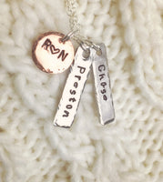 Mom Necklace, Children's Name Necklace, Hand Stamped Personalized Necklace, Personalized Necklace,natashaaloha - Natashaaloha, jewelry, bracelets, necklace, keychains, fishing lures, gifts for men, charms, personalized,