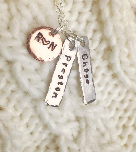 Mom Necklace, Children's Name Necklace, Hand Stamped Personalized Necklace, Personalized Necklace,natashaaloha