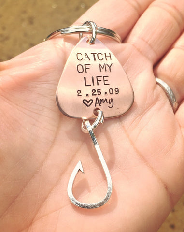 Catch Of My Life Fishing Keychain - Natashaaloha, jewelry, bracelets, necklace, keychains, fishing lures, gifts for men, charms, personalized,
