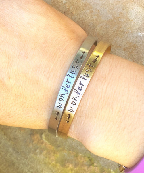 Wonderlust Cuff, Wanderlust Cuff, Personalized Skinny Bracelet, Hand Stamped Message Bracelet, Skinny Cuffs, natashaaloha - Natashaaloha, jewelry, bracelets, necklace, keychains, fishing lures, gifts for men, charms, personalized,