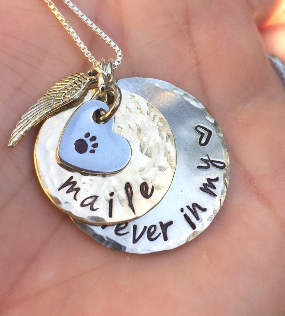 Furever in my heart, Pet Memorial, Furever in my heart Necklace, miss my pet, sympathy pet gift, natashaaloha - Natashaaloha