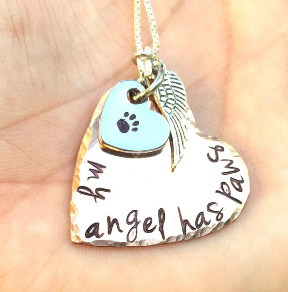 My Angel Has Paws, Pet Memorial, Furever in my heart Necklace, miss my pet, sympathy pet gift, natashaaloha - Natashaaloha, jewelry, bracelets, necklace, keychains, fishing lures, gifts for men, charms, personalized,