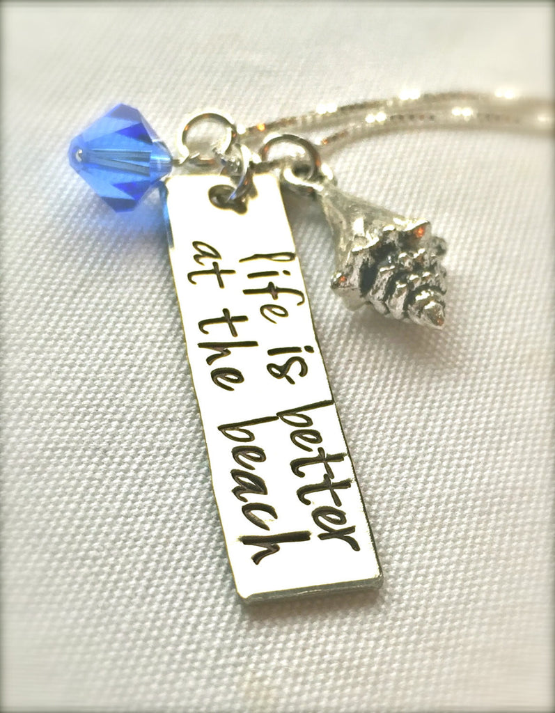 Life Is Better At The Beach Necklace, Mother's Day Gifts, Graduation Gift, Hawaiian Jewelry, Hand Stamped Necklace, Girlfriend, natashaaloha - Natashaaloha, jewelry, bracelets, necklace, keychains, fishing lures, gifts for men, charms, personalized,