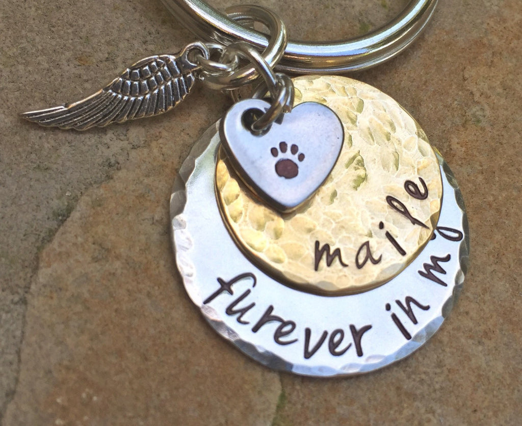 Furever in my heart, Pet Memorial, Furever in my heart Keychain, miss my pet, sympathy pet gift, natashaaloha - Natashaaloha, jewelry, bracelets, necklace, keychains, fishing lures, gifts for men, charms, personalized,
