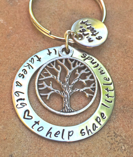 Teacher Gift, It Takes A Big Heart To Help Shape Little Minds, teacher gift, teacher appreciation, teacher key chain, teacher thank you gift