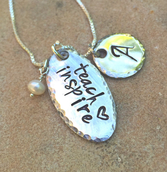Teach Love Inspire Necklace, Teacher Gift, Personalized Teacher Gift, Personalized Gifts for Teachers, natashaaloha - Natashaaloha, jewelry, bracelets, necklace, keychains, fishing lures, gifts for men, charms, personalized,